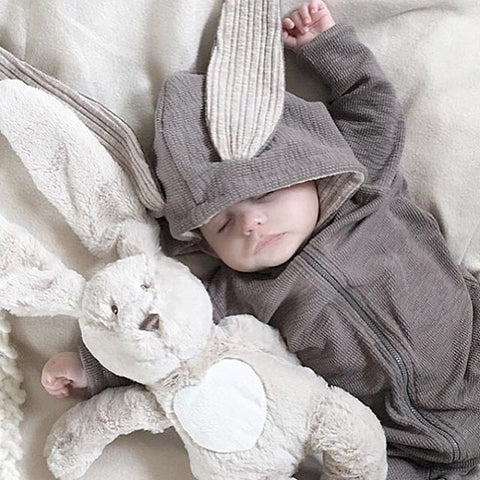 Bunny Rabbit Ear Hooded Long Sleeve Jumper Playsuit