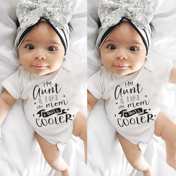 """My Aunt is Like My Mom But Cooler"" Short Sleeve Romper Onesie"