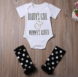 'Daddy's Girl, Mommy's World' 3pcs Romper, Leg Warmers & Bow Set