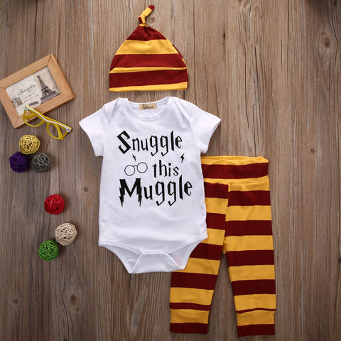 'Snuggle This Muggle' 3PCS Baby Clothing Set - Bodysuit or T-Shirt, Stripe Pants & Hat