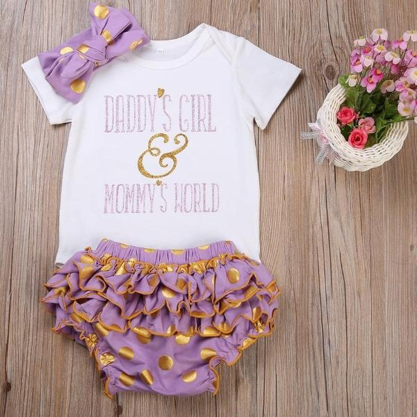 'Daddy's girl Mommy's world' Baby Girls Romper, Shorts and Headband 3Pcs Set
