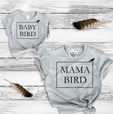 Family Matching T-Shirts Mama Bird / Baby Bird mother daughter Grey T-shirts