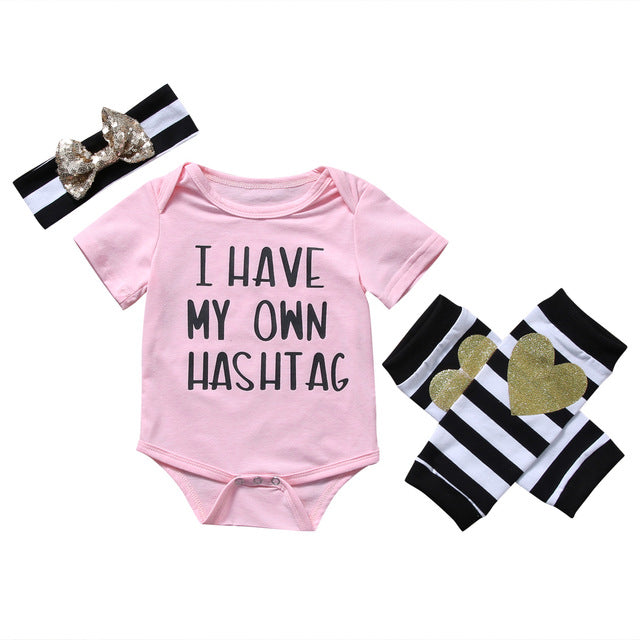 """I Have My Own Hashtag"" 3pcs Pink Short Sleeve Romper Onesie, Leg Warmers & Headband"