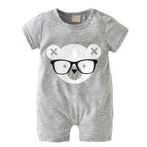 Nerdy Teddy Bear Short Sleeve Romper Jumpsuit
