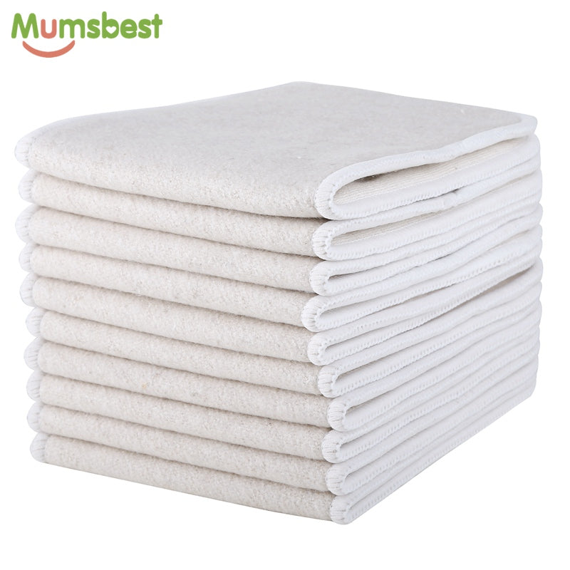 10pcs - Hemp & Organic Cotton 4 Layers Reusable Inserts For Baby Cloth Diaper Nappy