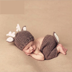 Baby Deer Handmade Crochet Newborn Baby Costume for Photography