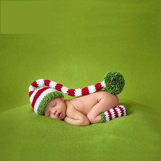 Christmas Hat & Legwarmers Handmade Crochet Newborn Baby Costume for Photography