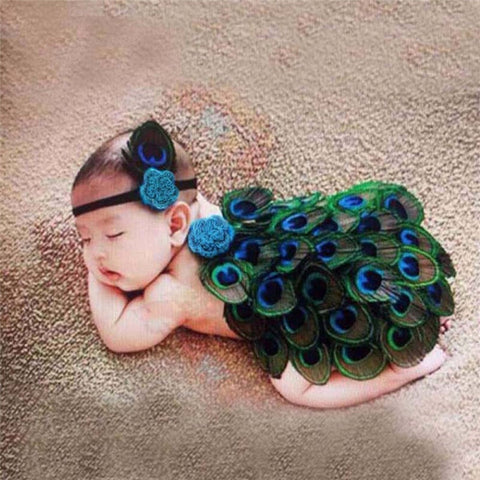 Baby Peacock Newborn Photography Prop Outfit and Headband Costume