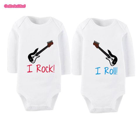"""I Rock, I Roll"" Baby Romper Onesies for Twins"