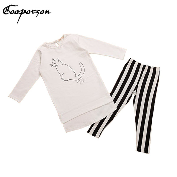 White Cat Long Sleeve Shirt & Striped Pants