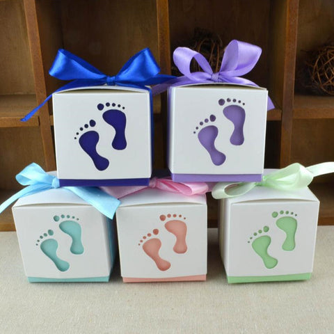 50pcs - Baby Feet Gift Boxes for Baby Shower/Gender Reveal Party