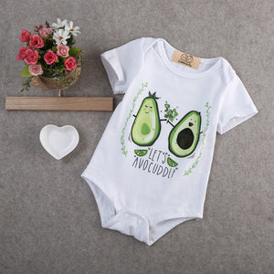 'Lets Avocuddle' Newborn Baby Short Sleeve Romper Onesie