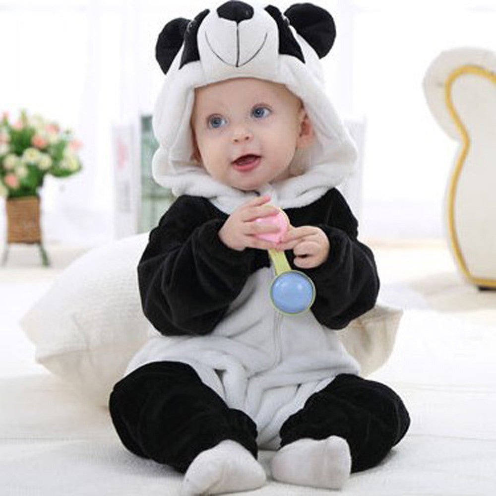 Cute Panda Hooded Infant Romper
