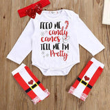 Christmas Newborn Baby Long Sleeve Romper Top + Striped Leg Warmer + Headband 3PCS Clothing Set