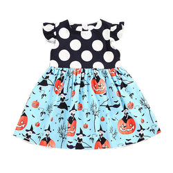 Halloween Girls Pumpkin Cartoon Princess Dress Fashion Patchwork Outfits