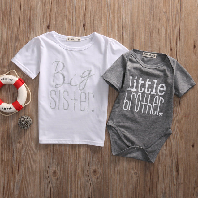 Big Sister T-shirt Little Brother Romper Summer Short Sleeve Family Matching