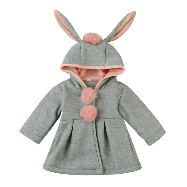 Baby Girls Hooded Bunny Rabbit Warm Thick Winter Coat Jacket