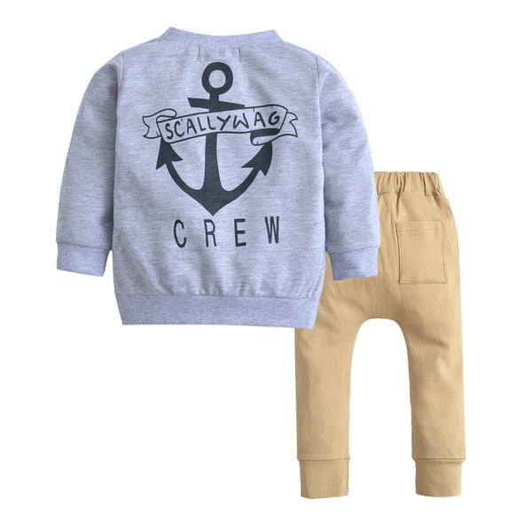 Fashion Newborn Baby Boy Clothes Kids Long Sleeve Cotton Grey Sweater+Khaki Trousers 2PCS Trend Children Clothing Set Baby Boy