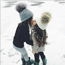 Double Fur Pom Pom Balls Matching Mom & Child Beanie Winter Hats