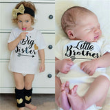 'Big Sister Little Brother'  Toddler kids baby Clothes Short Sleeves Bodysuit T-shirt