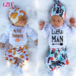 Newborn Baby 'My First Thanksgiving' 'Little Man' 'Brother Bear' Romper+Pant+Hat Set