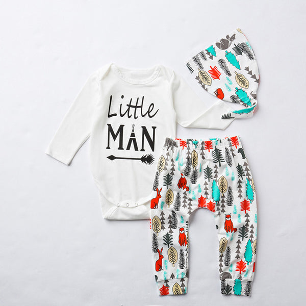 'My First Thanksgiving', 'Little Man', or 'Brother Bear' Romper + Pant + Hat Set