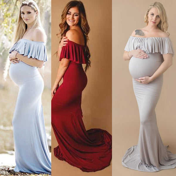 Ruffle Collar Off the Shoulder Maxi Maternity Dress for Photography