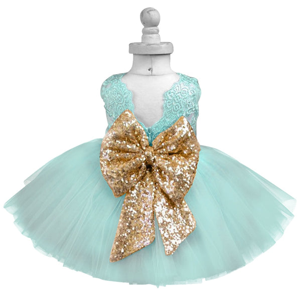 Flower Lace Sequin Bow Tutu Baby Girl Party Dress