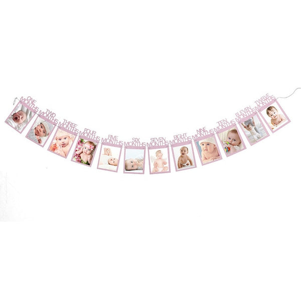 First Birthday DIY Monthly Pictures Photo Banner Party Decor