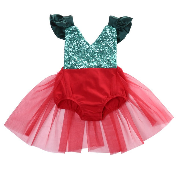 Christmas Baby Girl Red Tulle Tutu & Sparkly Green Backless Bow Romper Dress