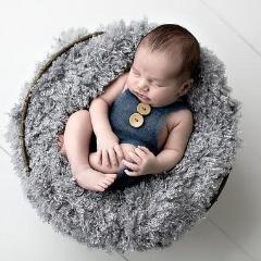 Newborn Baby Soft Mohair Knitted Button Romper Outfit Photography Prop