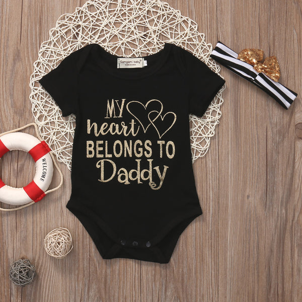 'Dad Says I'm Not Allowed to Date', 'My Heart Belongs to Daddy', or 'Daddy's Little Princess' Newborn Baby Girl Romper Onesie + Headband Set