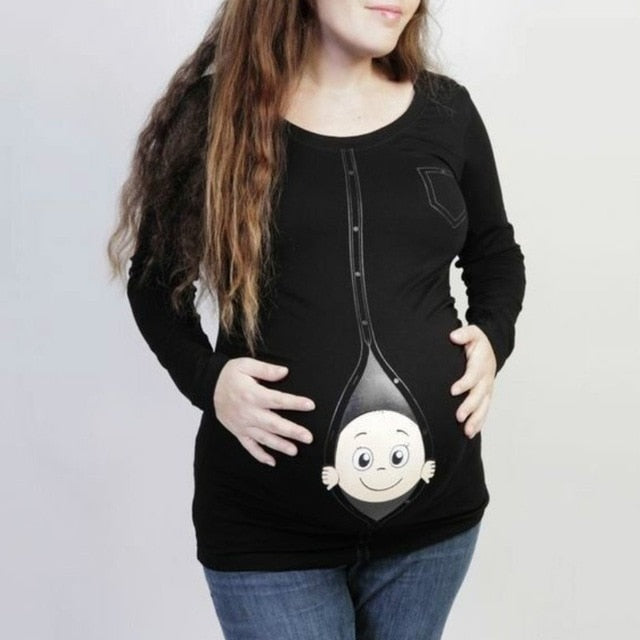 Maternity/Pregnancy Soft Cotton Long Sleeve Baby Button Up