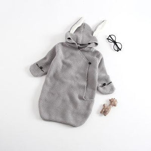 a16ef6177675 Bunny Rabbit Ears Knitted Newborn Baby Sleeping Bag Romper Outfit ...