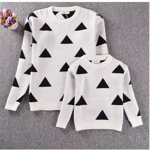 Mother & Daughter Triangle Sweaters