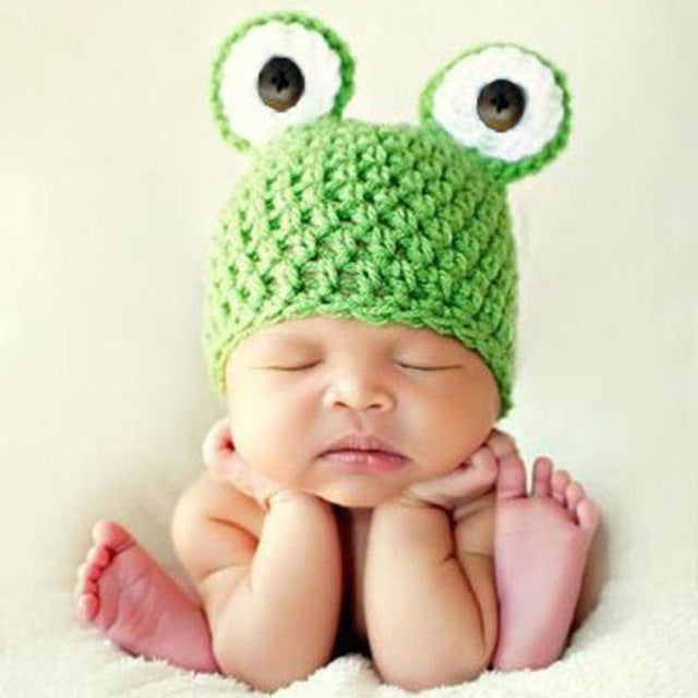 069a7a9d5a8 Newborn Baby Knit Crochet Frog Beanie Hat for Photography – Mama ...