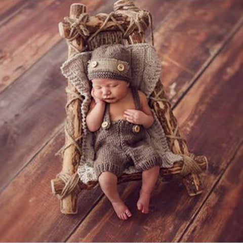 Newborn Retro Crochet Button Overalls & Hat for Photography