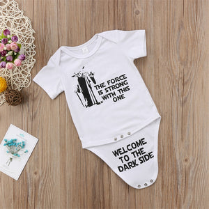 """The Force Is Strong"" Short Sleeve Romper Onesie"