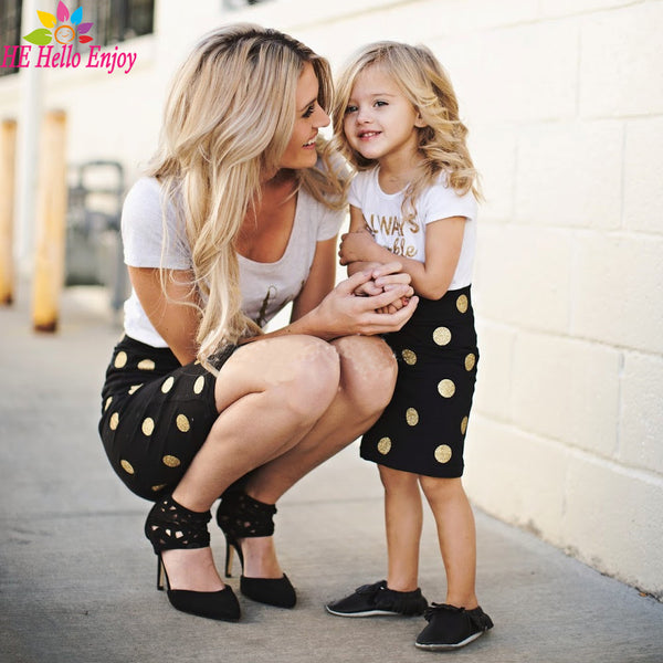 'Always Sparkle' Mother & Daughter Matching Top & Polka Dotted Skirts