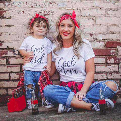 'Cool Mom' & 'Cool Kid' Matching Mom & Child Short Sleeve Shirts