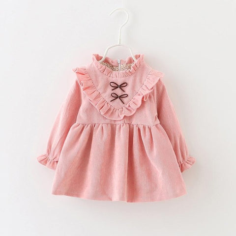 Ruffle Collar Long Sleeve Party Dress for Girls