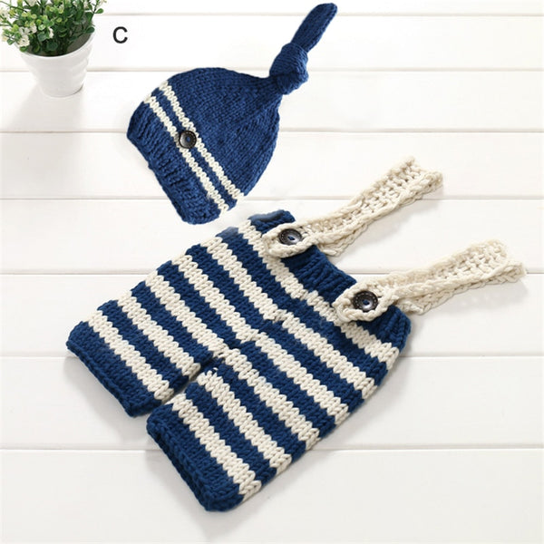 Newborn Baby Crochet Knit Overall Bib Striped Pants & Hat