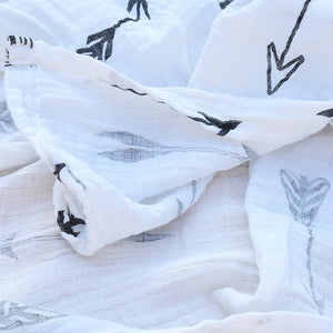 Black & White Printed Muslin Cotton Newborn Swaddle Blanket Wraps