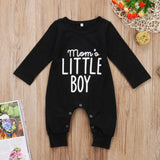 """Mom's Little Boy"" Baby Boy Long Sleeve Romper Jumpsuit Onesie"