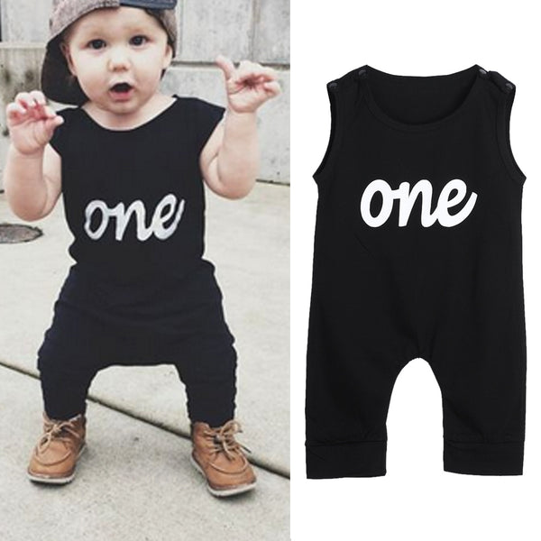 'One' Sleeveless Black Romper Jumpsuit Outfit