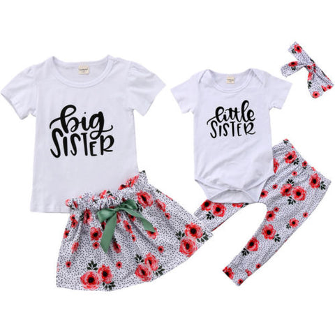'Big Sister' & 'Little Sister' 2pcs or 3pcs Matching Flower Print Outfits