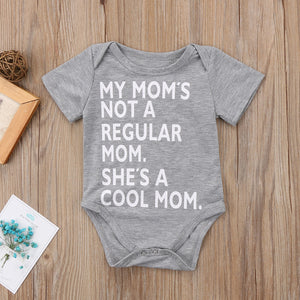 """She's A Cool Mom"" Newborn Baby Short Sleeve Funny Romper"
