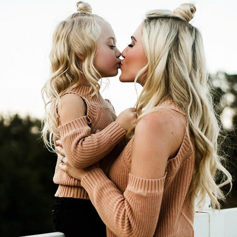 Mother and Daughter Matching Off the Shoulder Long Sleeve Knit Sweater