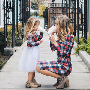 Blue and Red Plaid Matching Dresses for Mom and Daughter