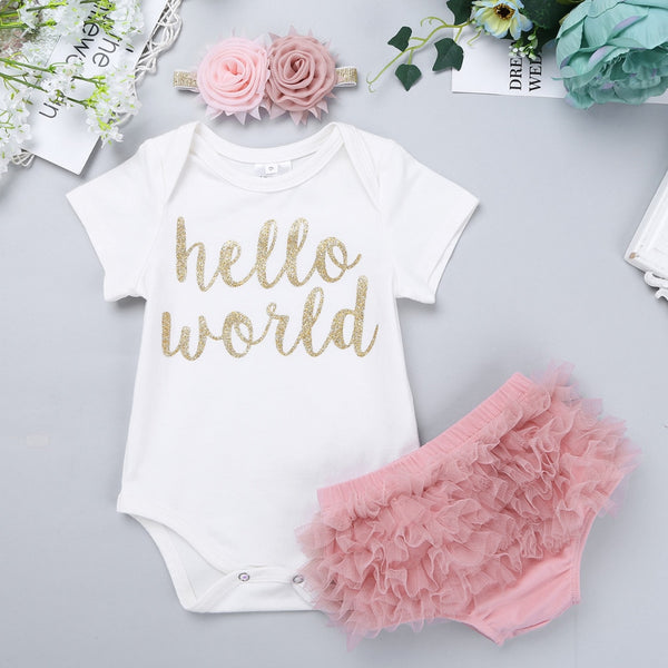 'Hello World' 3pc Short Sleeve Romper, Ruffle Bloomers & Matching Flower Headband Outfit Set